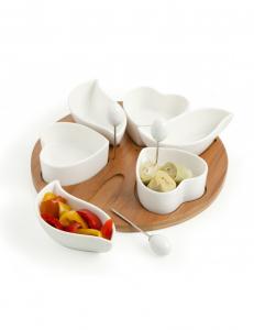 Antipastiera cuori di cupido,  in ceramica e legno
