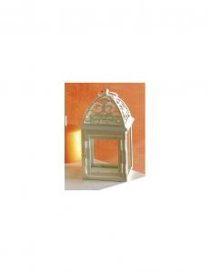 Lanterna bianca in metallo quadrata