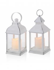 Lanterna bianca con candela a batterie