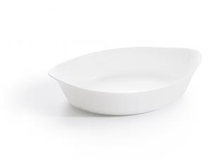 Piatto ovale da portata in porcellana bianca