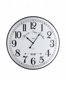 Orologio da parete in metallo bianco con scritte nere
