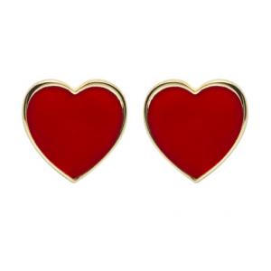 Orecchini Cuorepuro, lobo cuore 1cm dorato smalto rosso