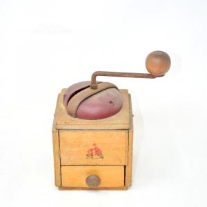 Macina Caffè In Legno Con Cassetto Modello Vintage
