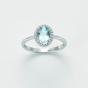 Miluna-Anello con acqua marina e diamanti
