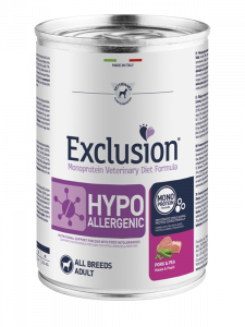 EXCLUSION MONOPROTEIN VET DIET  HYPOALLERGENIC MAIALE E PISELLI ALL BREEDS 400gr