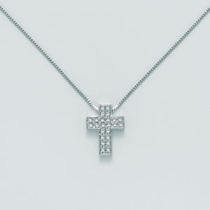 MILUNA-Collana in oro,croce con diamanti