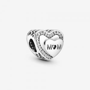 Charm a cuore scintillante Mamma