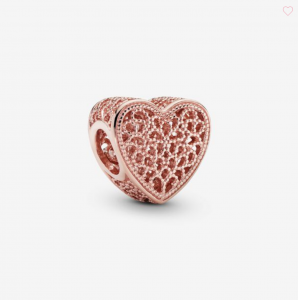 Charm Cuore decorato Rose