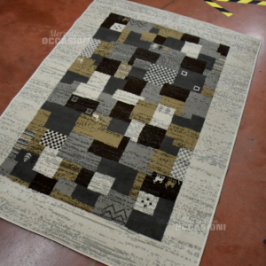 Tappeto Beige 120x170cm Fantasia Quadrati