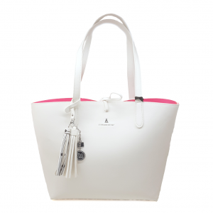 Shopper bianca/fuxia reversibile PashBag