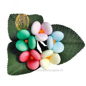 Mazzolino colorato in tulle con 5 Fiori di confetti William Di Carlo Sulmona - Italy