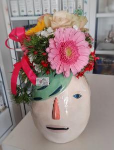 Vaso Ceramica Edg grande viso capelli verdi