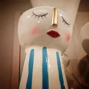 Vaso ceramica viso azzurro