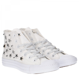 Converse All Star Hi Canvas Limited Edition White Silver Multistuds Lux