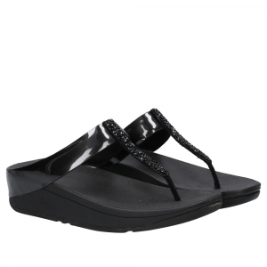 FitFlop Fino Toe Post Black Crystall