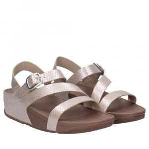FitFlop Skinny Z- Cross Sandal Snake Print Silver