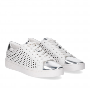 Michael KorsIrving Lace Up Lasered Leather White Silver