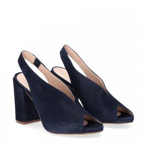 Il laccio sandalo camoscio blu