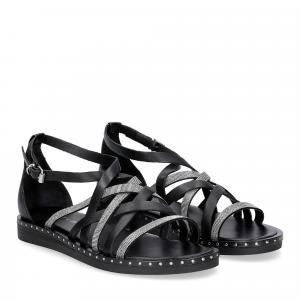 Janet & janet sandalo nero con listini argento