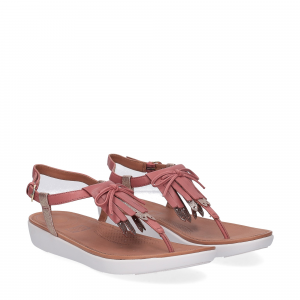 fitflop TIA TM FRINGE TOE-THONG SANDAL russet red gold foil