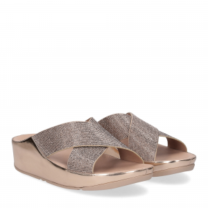 Fitflop tm slide rose gold crystall
