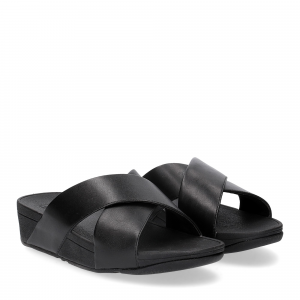 Fitflop LULU CROSS SLIDE SANDALS leather black