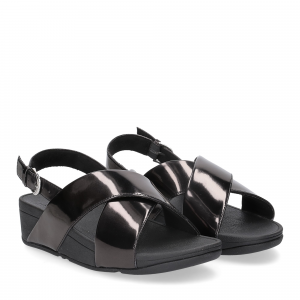 Fitflop lulu cross back strap sandals mirror black