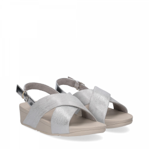 Fitflop LULU CROSS BACK STRAP SANDALS shimmer print silver