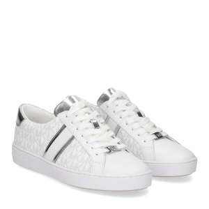 Michael KorsIrving stripe lace up sneaker logo bright white