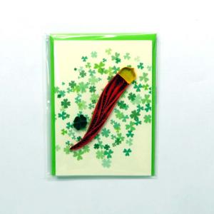 Mini biglietto cornetto rosso in filigrana di carta