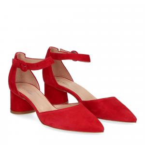 Il Laccio sandaliera camoscio rosso