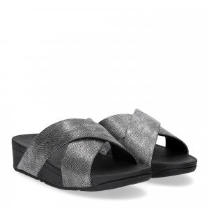 Fitflop Lulu Cross Back Strap Slide shimmer print black