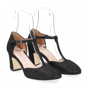 Andrea Schuster sandaliera tessuto lurex nero