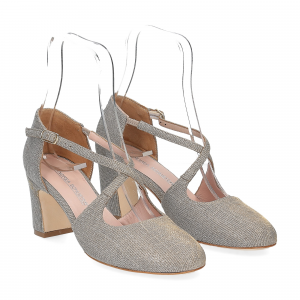 Andrea Schuster sandaliera tessuto lurex argento platino 7cm