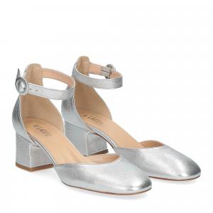 Il laccio sandaliera pelle laminata argento