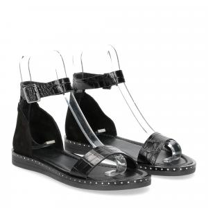 Il laccio sandalo in pelle nera