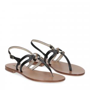 De Capri a Paris sandalo infradito gioiello pelle nera