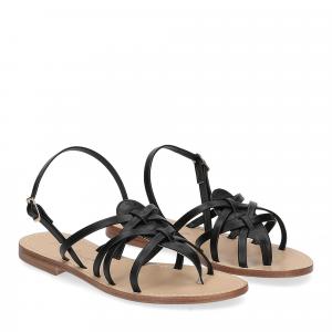 De Capri a Paris sandalo infradito pelle nera