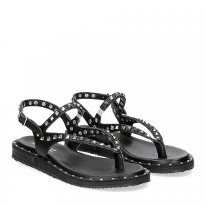 Il Laccio Sandalo infradito in pelle nera con borchie