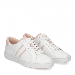 Michael KorsIrving stripe lace up optic white leather soft pink
