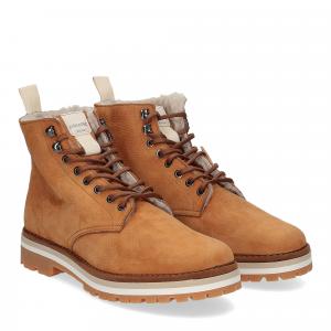 Panchic Ankle boot nubuk lining shearling caramel