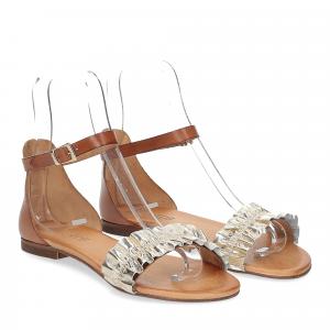 Il laccio sandalo pelle laminata platino con cinturino