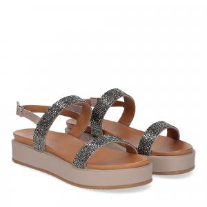 Il Laccio sandalo pelle grigia con pietre