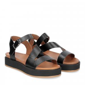 Il Laccio sandalo pelle nera con cinturino