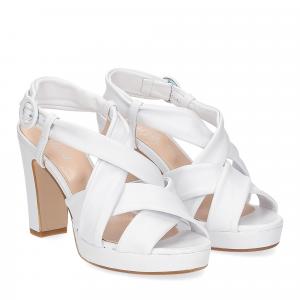 Il Laccio sandalo pelle bianca 9cm
