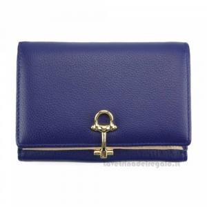 Portafoglio donna Blu Elettrico in pelle - Isotta - Pelletteria Fiorentina