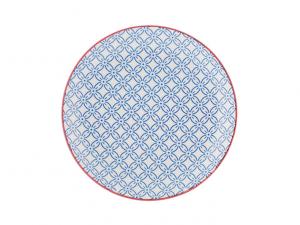 Piatto piano Positano blu e bianco
