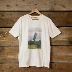 Maglia Obvious Basic a Mezze Maniche con Cactus Verde su Base Bianca