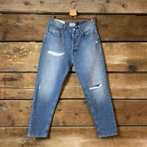 Jeans Amish Supply Jeremiah Adon con Schizzi di Vernice Blu Chiaro