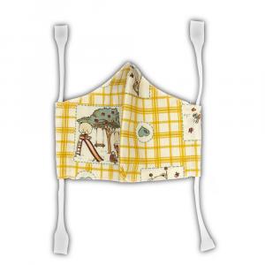 Mascherina in cotone per bambini - orso a quadretti gialli